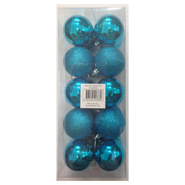 Bauble Set Teal 20Pk