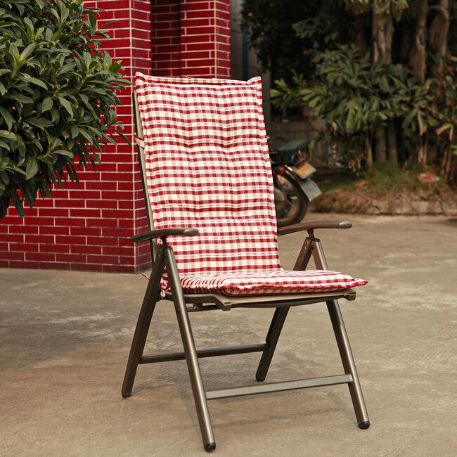 High Back Chair Cushion Red Check 120x48x4cm