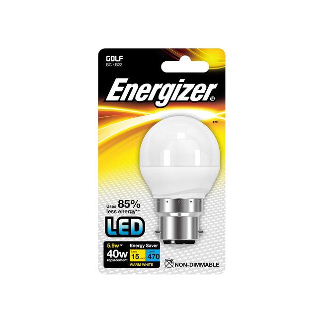 Energizer B22 LED Golf Bulb Opal 59W (EQ40W)