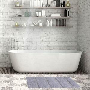 Feather Stripe Bath Mat 50 x 80cm - Grey