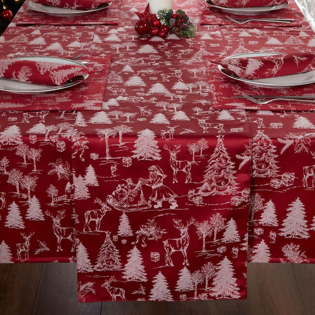 Toile Table Runner 229X36cm - Red