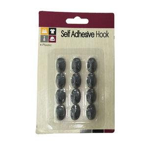 12 Self Adhesive Grey Hooks 2cm x 12cm x 1cm