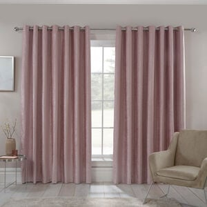 Blackout & Thermal Textured Curtains - Rose