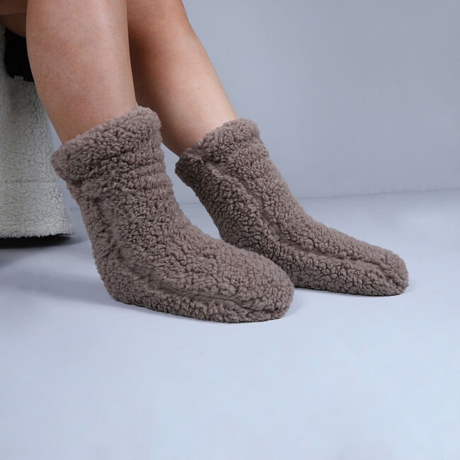 Teddy Socks Pair - Mink
