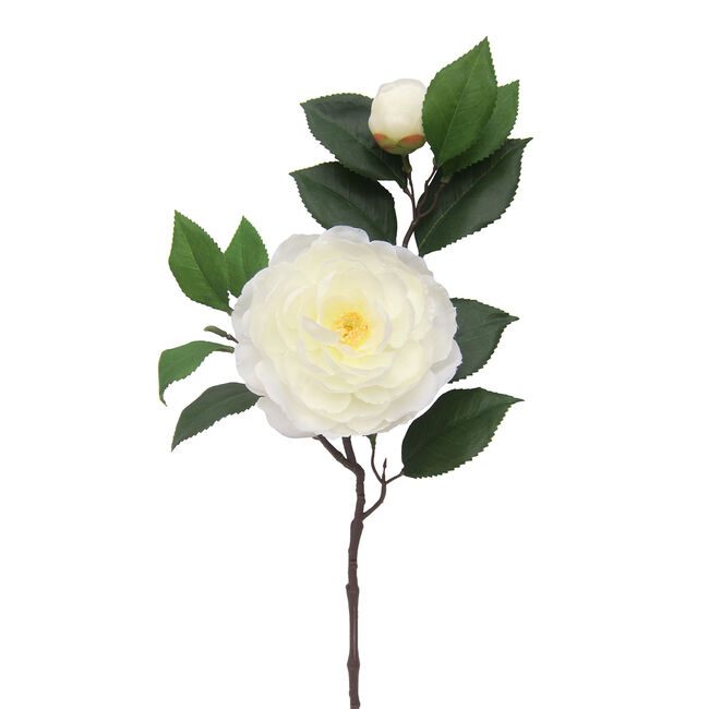 Camelia Branch with Bud and Foliage Pearl White