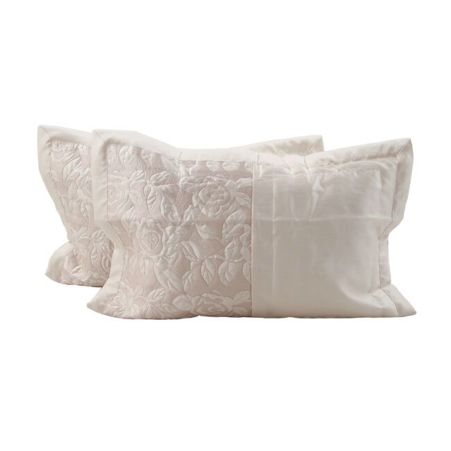 Quilted Rose Cream Pillowshams