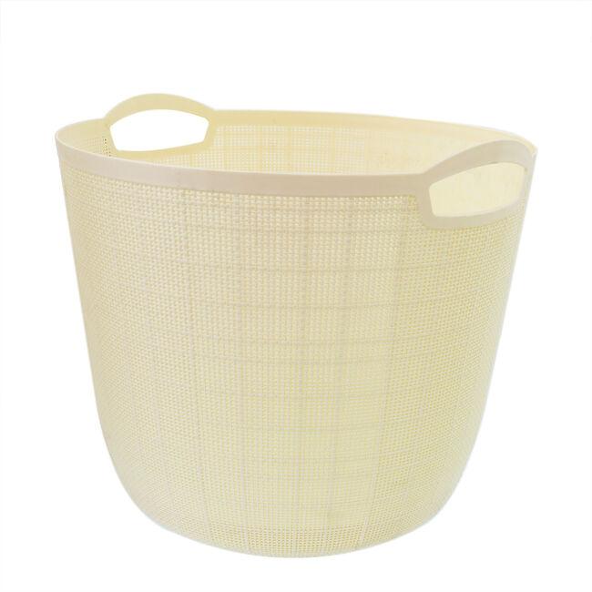 Hessian Cream Round Storage Basket 32L