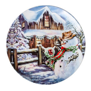 Love Christmas Snowman & House Cookie Plate