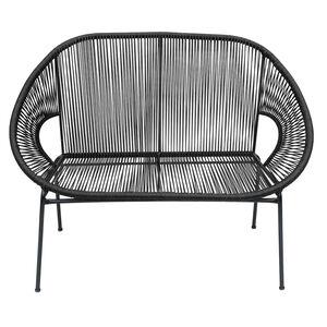 Rattan String Garden Bench - Black