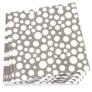 Bubbles Grey Napkins 20 Pack