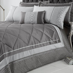 Luxury Geo Silver Bedspread 220cm x 230cm