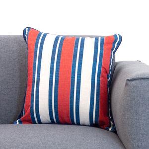 Nautical Stripe Cushion 45x45cm - Navy/Red