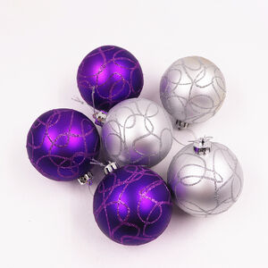 Purple Luxury Bauble Set - 6 Pack