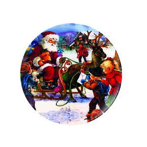 Christmas Santa Comes to the Village Large Plate