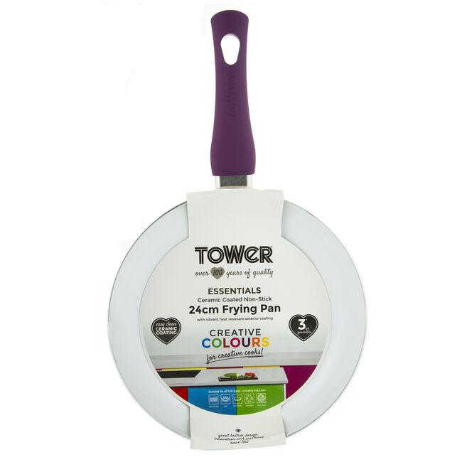 Tower Ceramic Plum Frying Pan 24cm