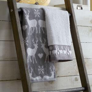 Reindeer Guest Towels Silver - 2 Pack
