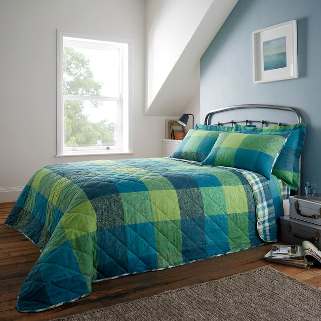 Brushed Cotton Harry Check Bedspread 200x220cm