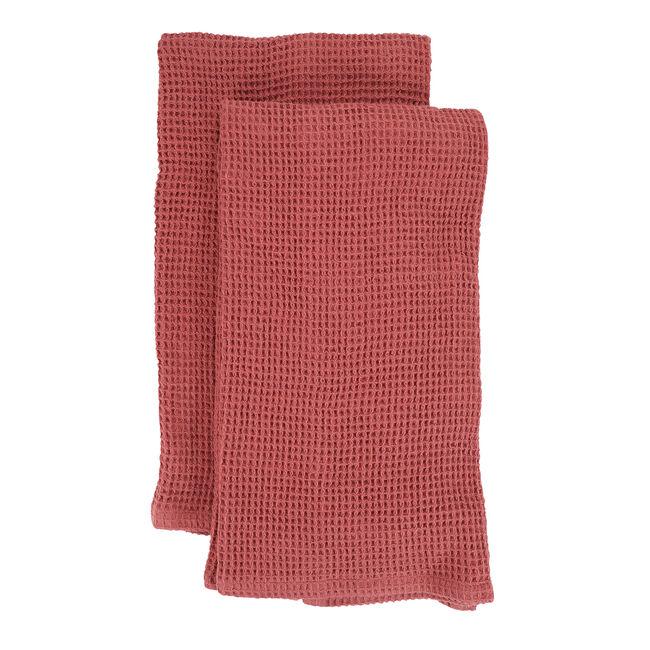Waffle Tea Towels 2 Pack - Dusty Rose