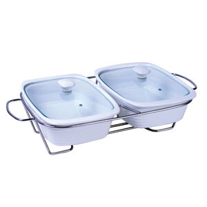 Rectangle Buffet Servers with Glass Lids
