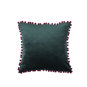 Pom Pom Cushion 45x45cm - Green