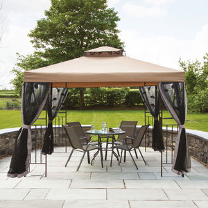 Oman Steel Gazebo with Netted Curtain