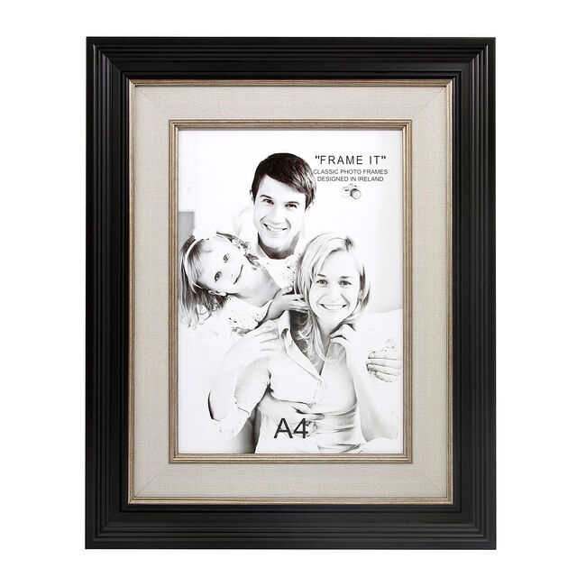 "Black & Linen Slim Photo Frame 8x12"" (A4)"