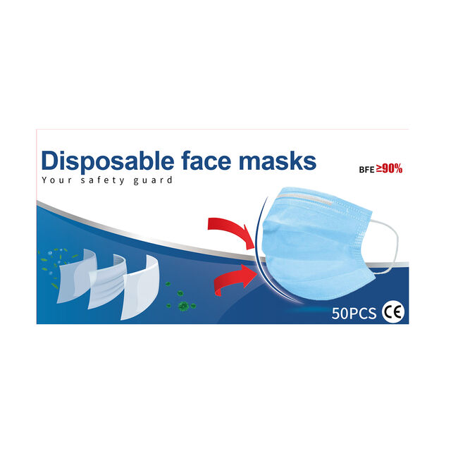 Disposable 3-Ply Face Masks - Box of 50