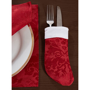 Textured Damask Red Stocking Cutlery Holder 4 Pack