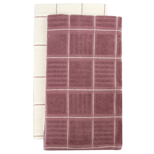 Check Kitchen Tea Towel 2 Pack Heather