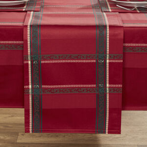 Plaid Damask Table Runner 229x36cm - Red
