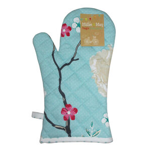 Floral Admiration Duck Egg Single Oven Glove