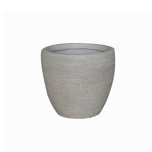 Small Round Beige Fibre Clay Pot