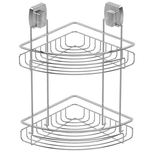Twist2Loc Two-Tier Dual Wall Corner Rack - Chrome