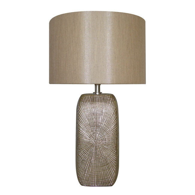 Chrome Fossil Ceramic Lamp with Shade