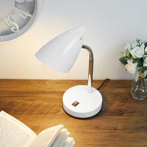 Modern Chrome Desk Lamp - White