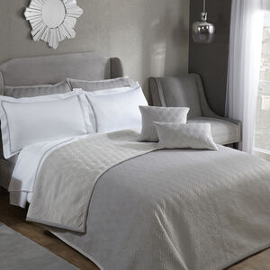 Quilted Hotel Velvet Bedspread 220 x 230cm - Grey