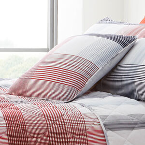 Checkered Stripe Blue/Red Cushion