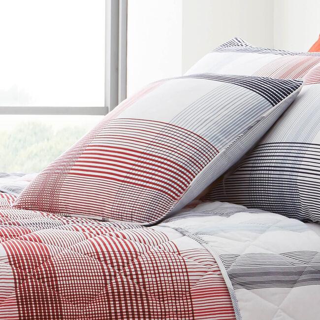 Checkered Stripe Blue/Red Cushion