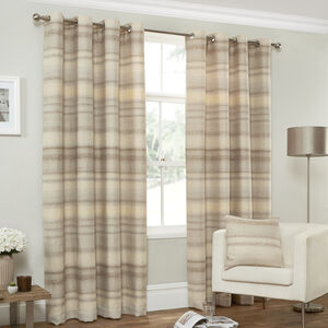 DISTRESSED TEXTURED STRIPE CREAM 66x54 Curtain