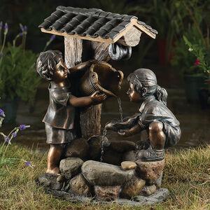 Girl & Boy Wishing Well Water Fountain