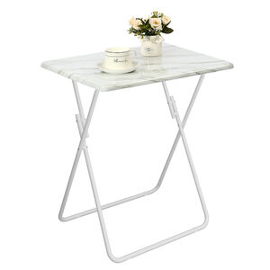 Folding Table White Marble Effect 48x38x66cm