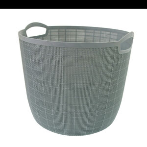 Hessian Blue Round Storage Basket 32L