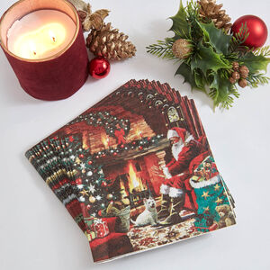 Fireside Santa Napkins 20 Pack