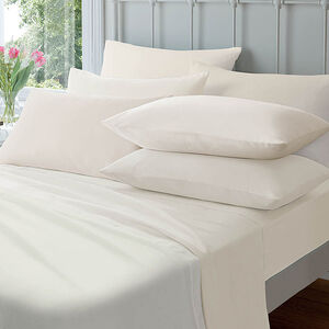 Flannelette Housewife Pillowcase Pair - Cream