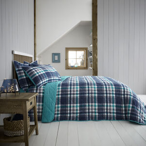 Brushed Cotton Thornton Check Bedspread 200x220cm