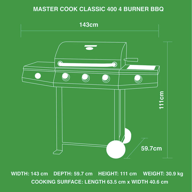 Master Cook Classic 400 4 Burner Gas Barbecue