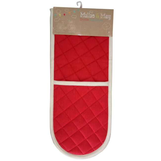 Two Tone Double Oven Glove Red/Cream