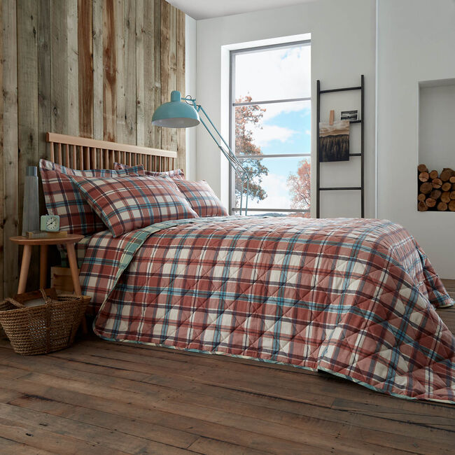 Brushed Cotton Jordan Check Bedspread 200cmx220cm