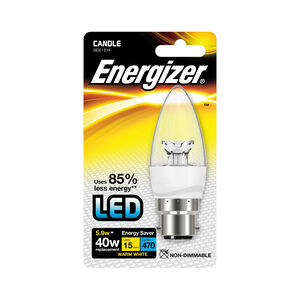 Energizer B22 LED Candle Bulb Clear 59W (EQ40W)