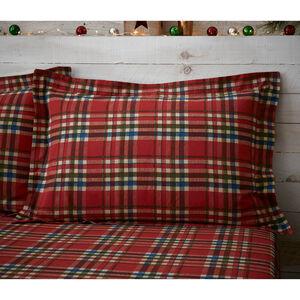 Patchwork Santa Oxford Pillowcase Pair - Red
